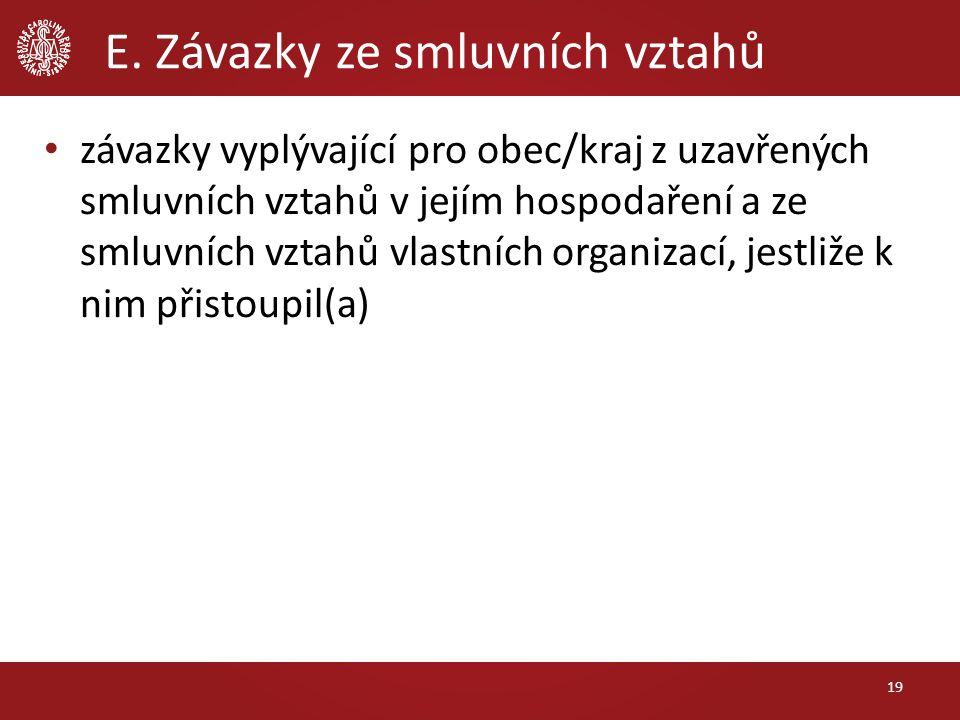 E. Závazky ze smluvních vztahů závazky vyplývající pro obec/kraj z uzavřených smluvních vztahů v jejím hospodaření a ze smluvních vztahů vlastních org