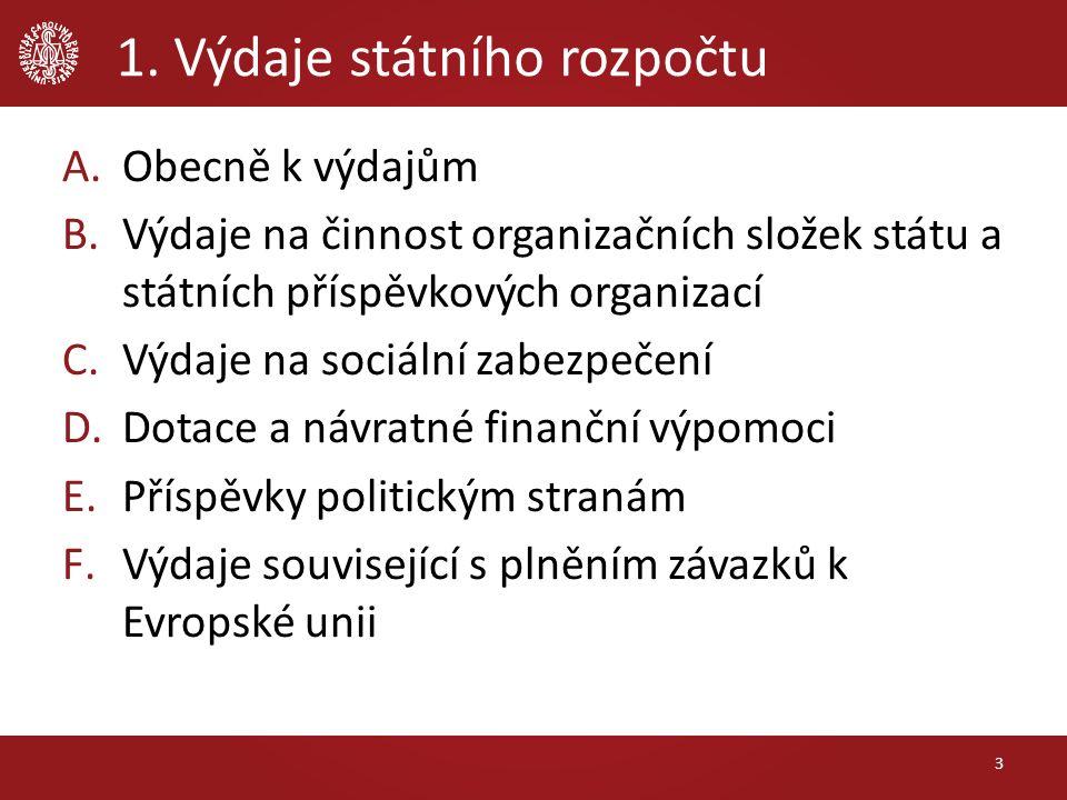 1. Výdaje státního rozpočtu A.Obecně k výdajům B.Výdaje na činnost organizačních složek státu a státních příspěvkových organizací C.Výdaje na sociální