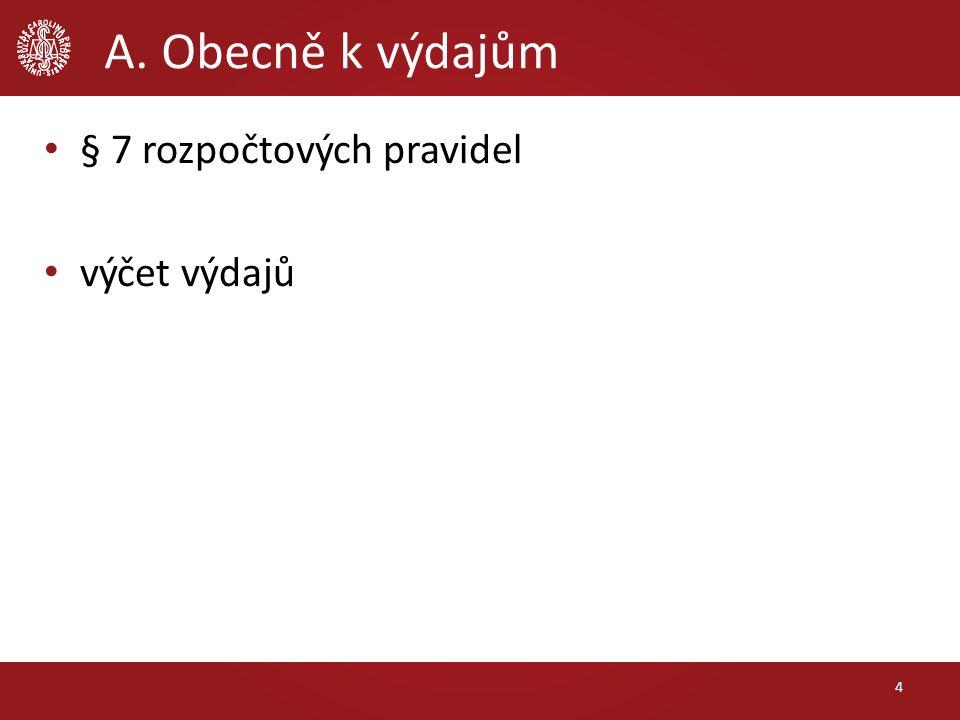 A. Obecně k výdajům § 9 a 10 rozpočtových pravidel územních rozpočtů výčet výdajů 15