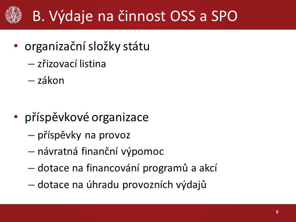 B. Výdaje na činnost OSS a SPO organizační složky státu – zřizovací listina – zákon příspěvkové organizace – příspěvky na provoz – návratná finanční v