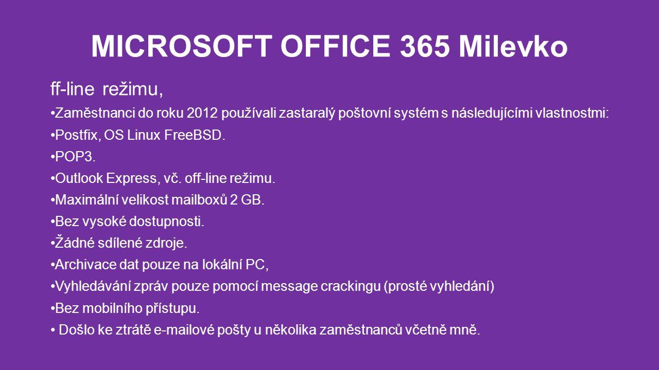MICROSOFT OFFICE 365 Milevko ff-line režimu, Zaměstnanci do roku 2012 používali zastaralý poštovní systém s následujícími vlastnostmi: Postfix, OS Linux FreeBSD.