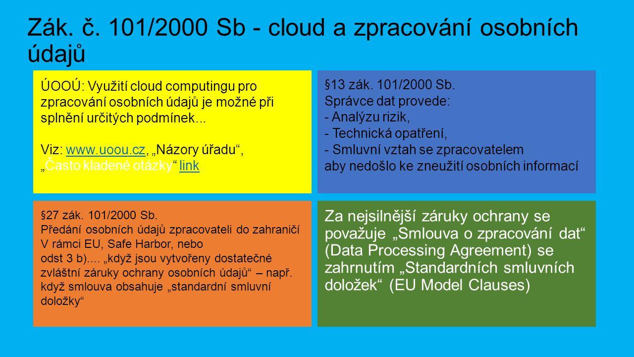 Zák. č. 101/2000 Sb - cloud a zpracování osobních údajů §27 zák.