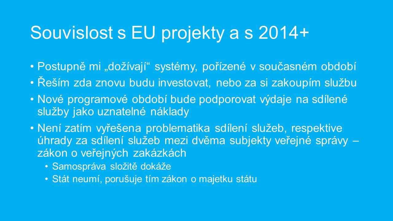 """Souvislost s EU projekty a s 2014+ Postupně mi """"dožívají systémy, pořízené v současném období Řeším zda znovu budu investovat, nebo za si zakoupím službu Nové programové období bude podporovat výdaje na sdílené služby jako uznatelné náklady Není zatím vyřešena problematika sdílení služeb, respektive úhrady za sdílení služeb mezi dvěma subjekty veřejné správy – zákon o veřejných zakázkách Samospráva složitě dokáže Stát neumí, porušuje tím zákon o majetku státu"""