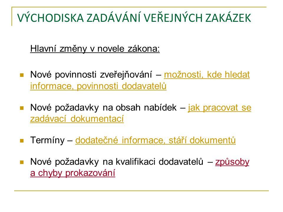 ZVEŘEJŇOVÁNÍ – MOŽNOSTI, KDE HLEDAT INFORMACE Zveřejňování dle zákona: Profil zadavatele: všechny veřejné zakázky od 500.000,- Kč bez DPH http://www.prerov.eu/cs/magistrat/verejne-zakazky-a- vyberova-rizeni/verejne-zakazky/verejne-zakazky-dle- zakona-c-137-2006-sb-od-1-9-2011.html Věstník veřejných zakázek: http://www.isvzus.cz/ http://www.isvzus.cz/ Úřední věstník: http://ted.europa.eu/ Problematika veřejných zakázek: http://www.portal-vz.cz/ http://www.vz24.cz/