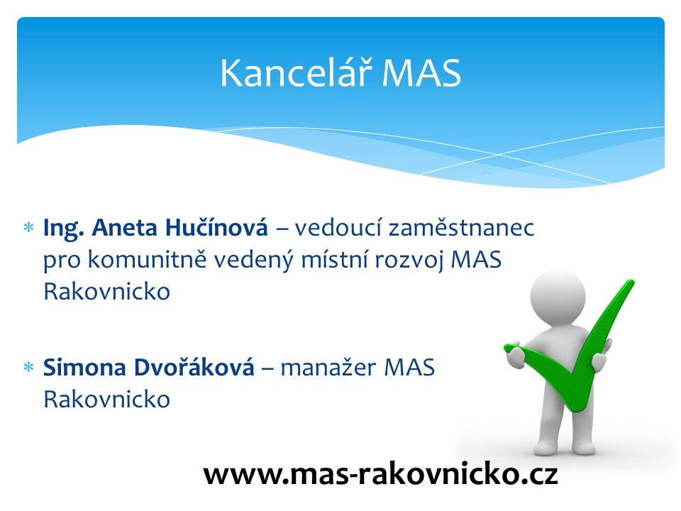  Ing. Aneta Hučínová – vedoucí zaměstnanec pro komunitně vedený místní rozvoj MAS Rakovnicko  Simona Dvořáková – manažer MAS Rakovnicko Kancelář MAS