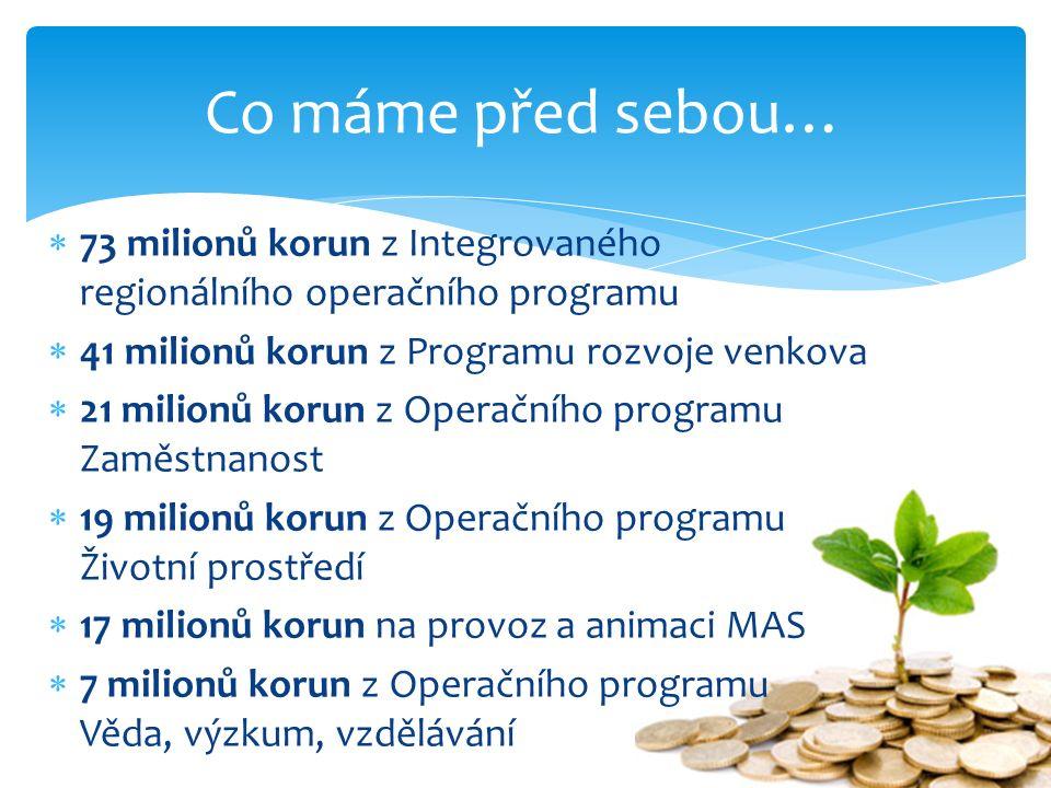  73 milionů korun z Integrovaného regionálního operačního programu  41 milionů korun z Programu rozvoje venkova  21 milionů korun z Operačního prog