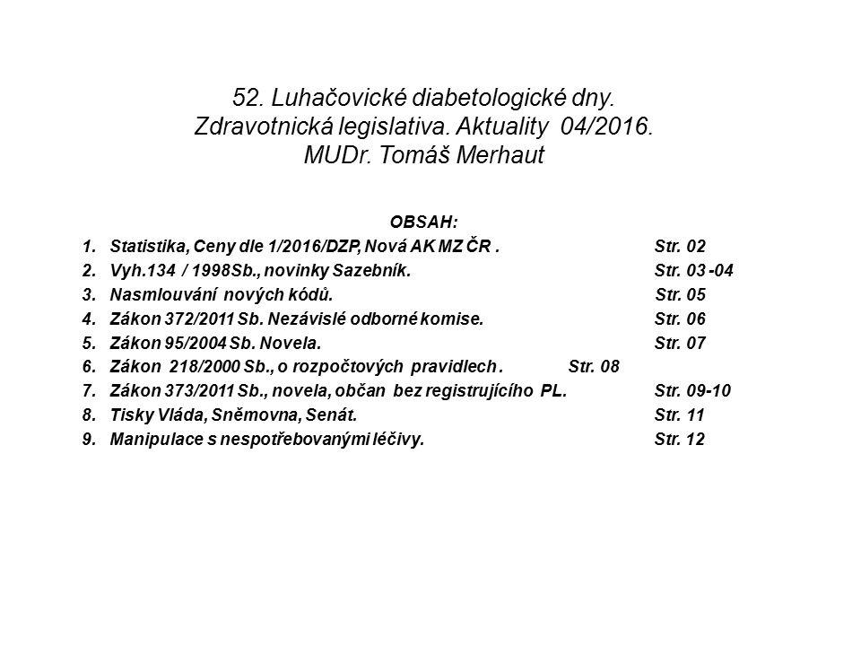 52. Luhačovické diabetologické dny. Zdravotnická legislativa.