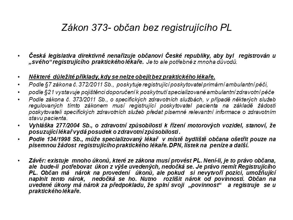 """Zákon 373- občan bez registrujícího PL Česká legislativa direktivně nenařizuje občanovi České republiky, aby byl registrován u """"svého registrujícího praktického lékaře."""