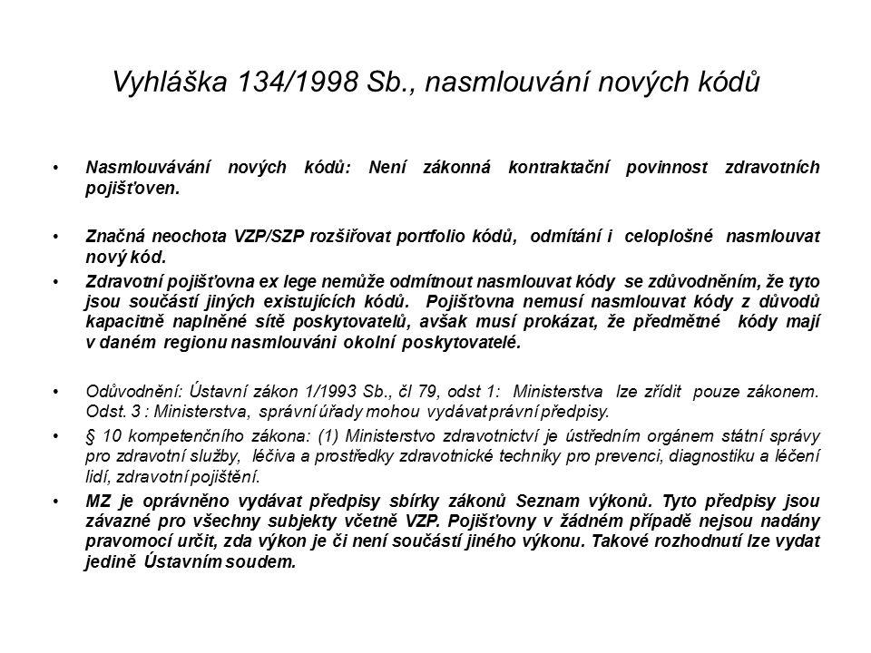 Vyhláška 134/1998 Sb., nasmlouvání nových kódů Nasmlouvávání nových kódů: Není zákonná kontraktační povinnost zdravotních pojišťoven. Značná neochota