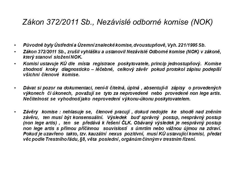 Zákon 372/2011 Sb., Nezávislé odborné komise (NOK) Původně byly Ústřední a Územní znalecké komise, dvoustupňově, Vyh.