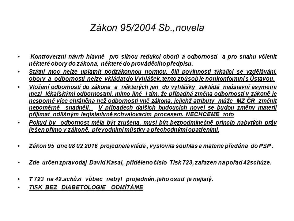 Zákon 95/2004 Sb.,novela Kontroverzní návrh hlavně pro silnou redukci oborů a odborností a pro snahu včlenit některé obory do zákona, některé do prováděcího předpisu.