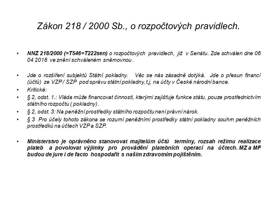 Zákon 218 / 2000 Sb., o rozpočtových pravidlech. NNZ 218/2000 (=T546=T222sen) o rozpočtových pravidlech, již v Senátu. Zde schválen dne 06 04 2016 ve