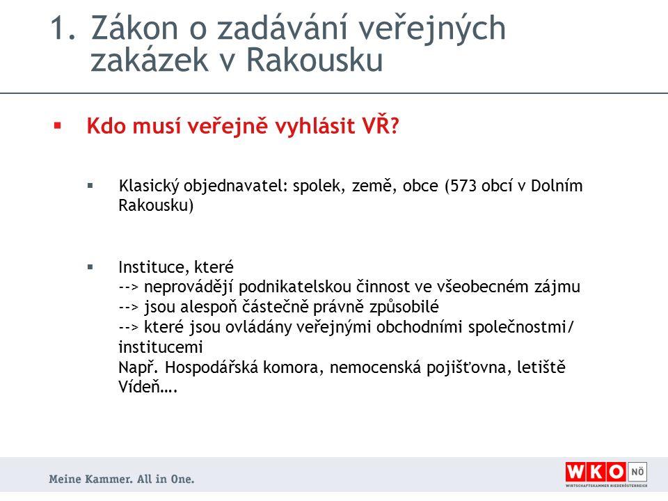 1.Zákon o zadávání veřejných zakázek v Rakousku  Kdo musí veřejně vyhlásit VŘ.