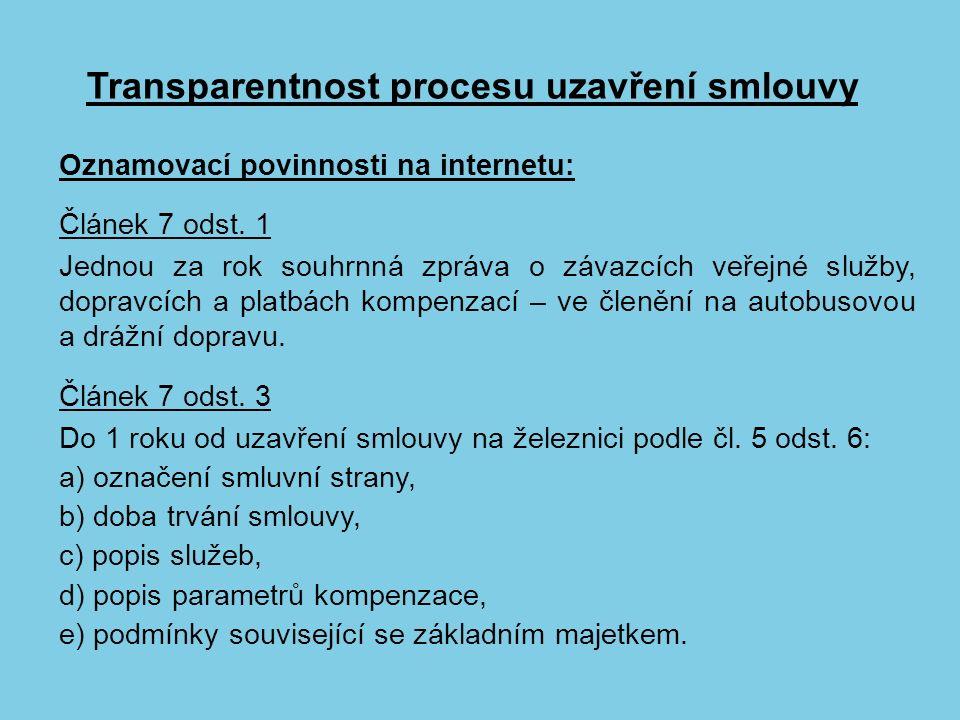 Transparentnost procesu uzavření smlouvy Oznamovací povinnosti na internetu: Článek 7 odst.