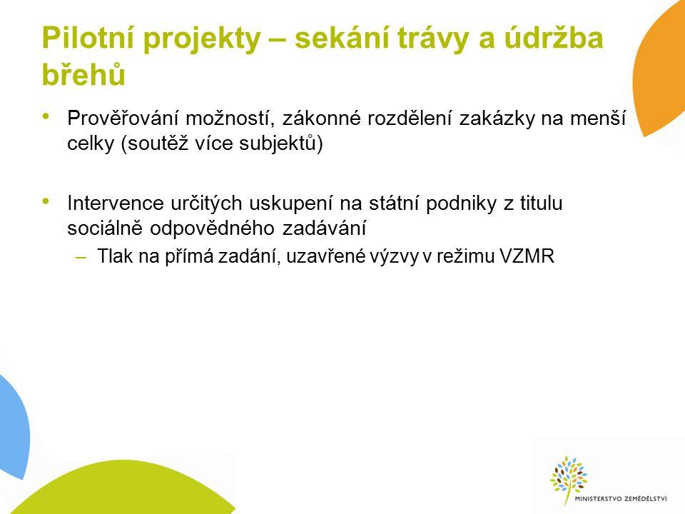 Pilotní projekty – sekání trávy a údržba břehů Prověřování možností, zákonné rozdělení zakázky na menší celky (soutěž více subjektů) Intervence určitý