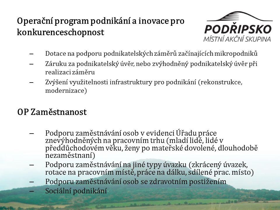 Operační program podnikání a inovace pro konkurenceschopnost – Dotace na podporu podnikatelských záměrů začínajících mikropodniků – Záruku za podnikat