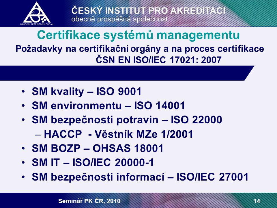 Seminář PK ČR, 201014 Certifikace systémů managementu Požadavky na certifikační orgány a na proces certifikace ČSN EN ISO/IEC 17021: 2007 SM kvality – ISO 9001 SM environmentu – ISO 14001 SM bezpečnosti potravin – ISO 22000 –HACCP - Věstník MZe 1/2001 SM BOZP – OHSAS 18001 SM IT – ISO/IEC 20000-1 SM bezpečnosti informací – ISO/IEC 27001