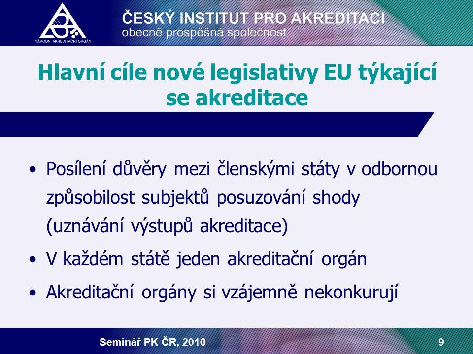 Seminář PK ČR, 20109 Hlavní cíle nové legislativy EU týkající se akreditace Posílení důvěry mezi členskými státy v odbornou způsobilost subjektů posuz