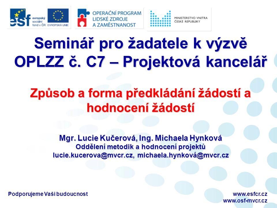 Podporujeme Vaši budoucnostwww.esfcr.cz www.osf-mvcr.cz Způsob a forma předkládání žádostí Žádost o finanční podporu z OP LZZ je žadatelem vypracována on-line v aplikaci Benefit7 (elektronická žádost) na www.eu-zadost.cz nebo www.eu-zadost.euwww.eu-zadost.czwww.eu-zadost.eu POZOR: Žádost musí být založena ve správné výzvě.