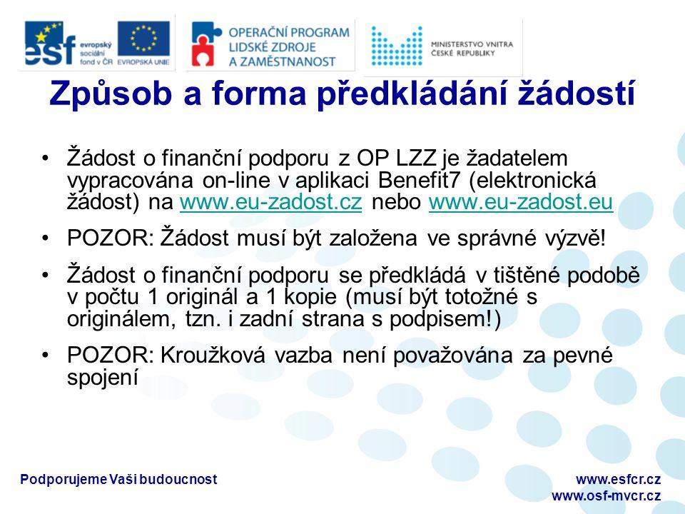 Podporujeme Vaši budoucnostwww.esfcr.cz www.osf-mvcr.cz Způsob a forma předkládání žádostí Žádost o finanční podporu z OP LZZ je žadatelem vypracována