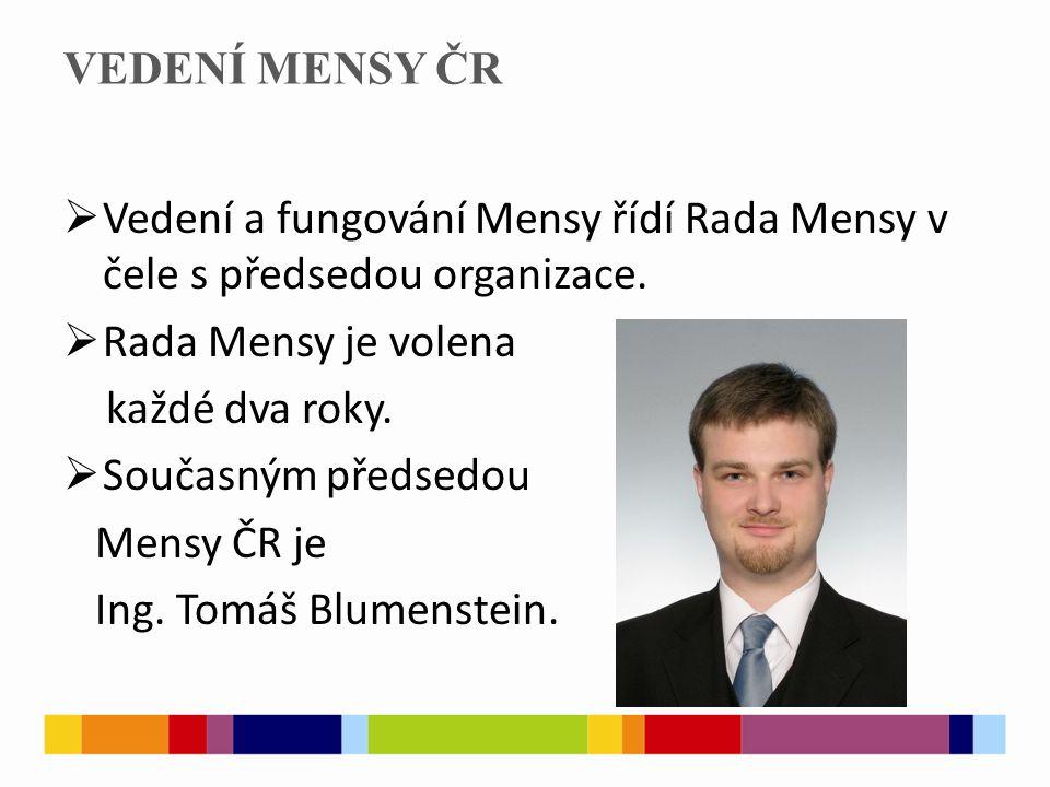 VEDENÍ MENSY ČR  Vedení a fungování Mensy řídí Rada Mensy v čele s předsedou organizace.  Rada Mensy je volena každé dva roky.  Současným předsedou