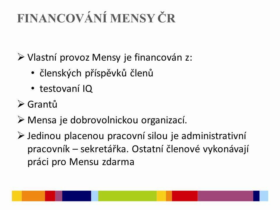 FINANCOVÁNÍ MENSY ČR  Vlastní provoz Mensy je financován z: členských příspěvků členů testovaní IQ  Grantů  Mensa je dobrovolnickou organizací.