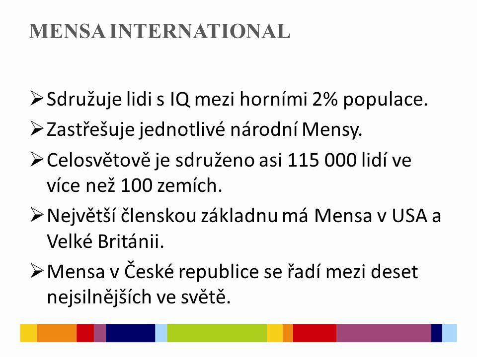MENSA INTERNATIONAL  Sdružuje lidi s IQ mezi horními 2% populace.  Zastřešuje jednotlivé národní Mensy.  Celosvětově je sdruženo asi 115 000 lidí v