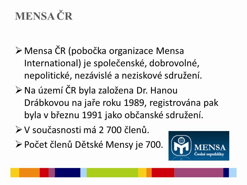 MENSA ČR  Mensa ČR (pobočka organizace Mensa International) je společenské, dobrovolné, nepolitické, nezávislé a neziskové sdružení.  Na území ČR by