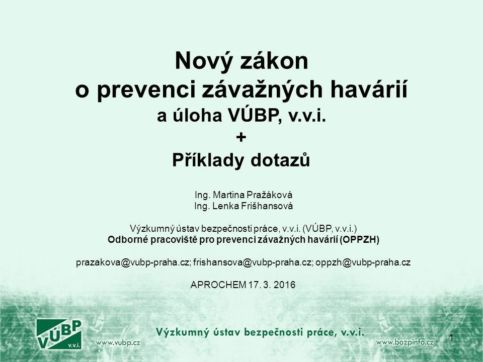 Co je ještě nové v 224/2015… u BP – provádět pravidelný přezkum bezpečnostního programu – uchovat pro účely kontroly, stejnopis zaslat KÚ u BZ – aktualizovat vyplyne-li to ze závěrů zprávy o posouzení bezpečnostní zprávy (navíc vedle původní povinnosti) pojem sousední objekt - jakýkoliv objekt v takové vzdálenosti, která představuje zvýšené nebezpečí pojem uživatel - užívá objekt, ve kterém je NL umístěna v množstvím menším, než je množství kvalifikační a jsou mu ukládány povinnosti v podstatně omezeném rozsahu.