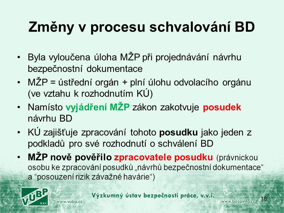 """Změny v procesu schvalování BD Byla vyloučena úloha MŽP při projednávání návrhu bezpečnostní dokumentace MŽP = ústřední orgán + plní úlohu odvolacího orgánu (ve vztahu k rozhodnutím KÚ) Namísto vyjádření MŽP zákon zakotvuje posudek návrhu BD KÚ zajišťuje zpracování tohoto posudku jako jeden z podkladů pro své rozhodnutí o schválení BD MŽP nově pověřilo zpracovatele posudku (právnickou osobu ke zpracování posudků """"návrhů bezpečnostní dokumentace a posouzení rizik závažné havárie ) 18"""