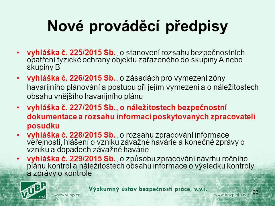 Nové prováděcí předpisy vyhláška č.