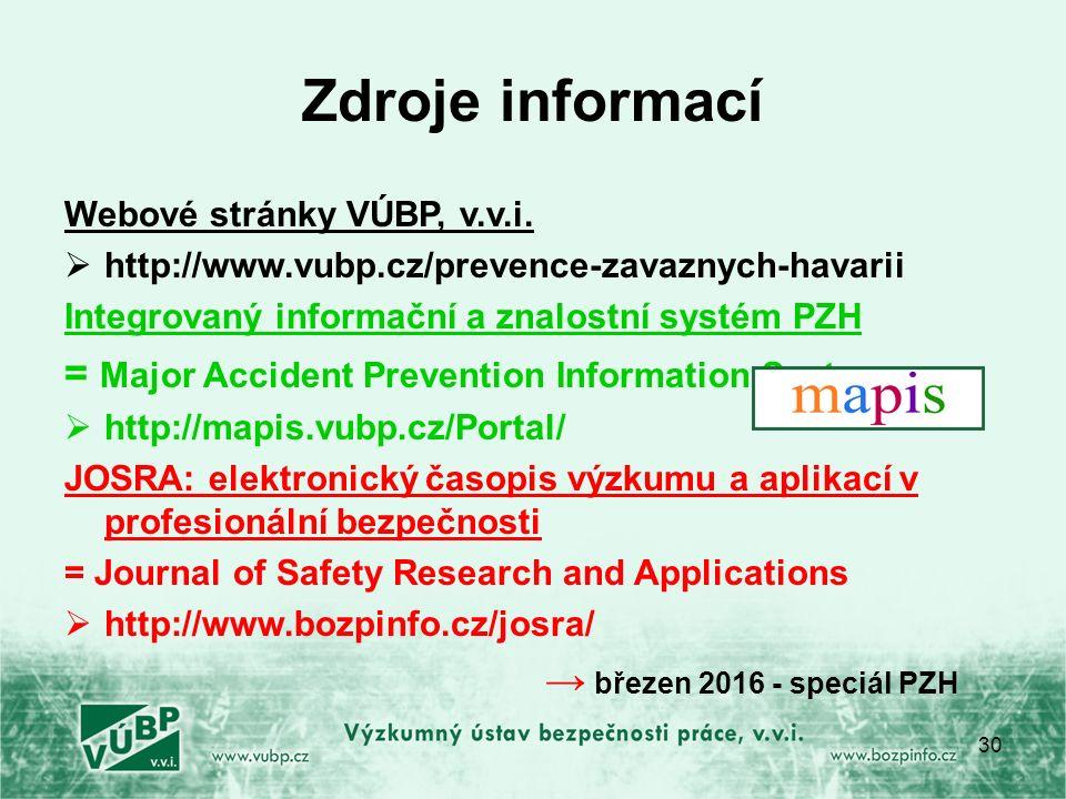 Zdroje informací Webové stránky VÚBP, v.v.i.