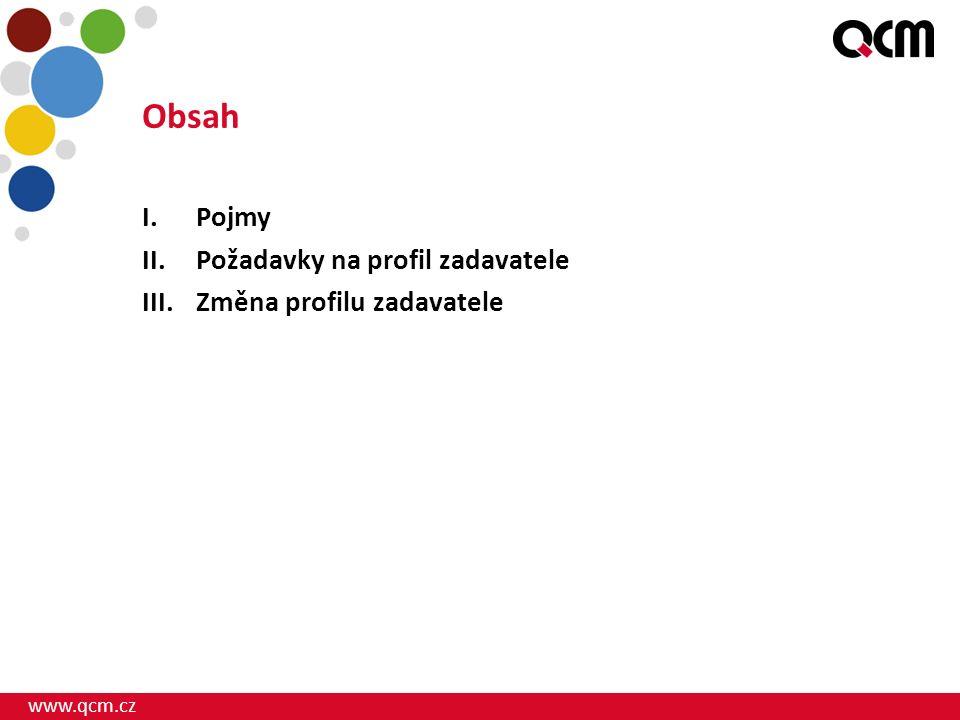 www.qcm.cz Obsah I.Pojmy II.Požadavky na profil zadavatele III.Změna profilu zadavatele