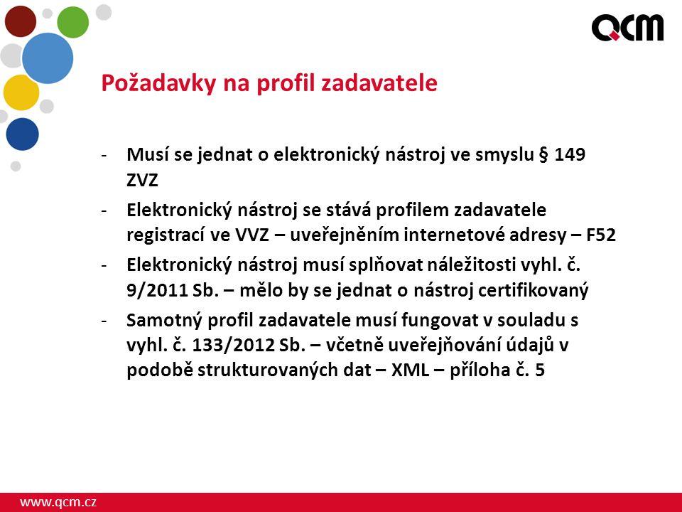 www.qcm.cz Požadavky na profil zadavatele -Musí se jednat o elektronický nástroj ve smyslu § 149 ZVZ -Elektronický nástroj se stává profilem zadavatel