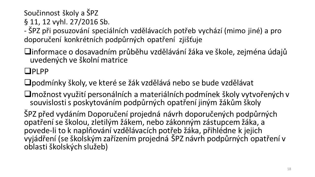 Součinnost školy a ŠPZ § 11, 12 vyhl. 27/2016 Sb.