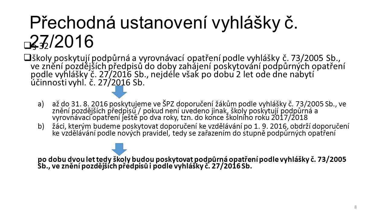 Přechodná ustanovení vyhlášky č.