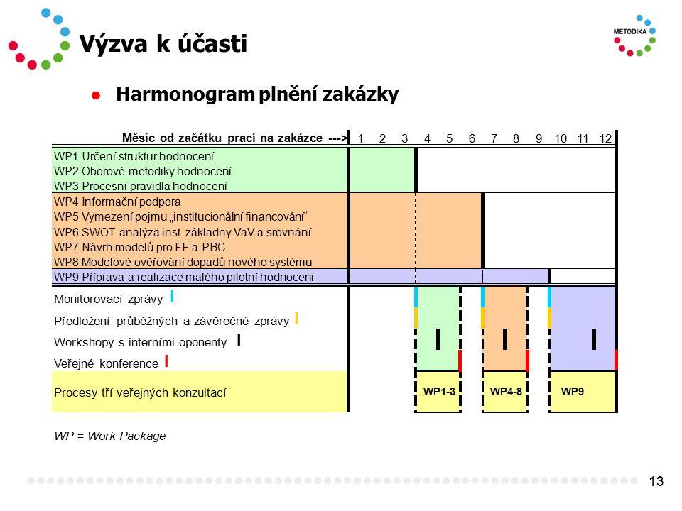 13 Výzva k účasti ● Harmonogram plnění zakázky