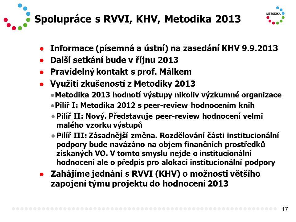17 Spolupráce s RVVI, KHV, Metodika 2013 ● Informace (písemná a ústní) na zasedání KHV 9.9.2013 ● Další setkání bude v říjnu 2013 ● Pravidelný kontakt s prof.