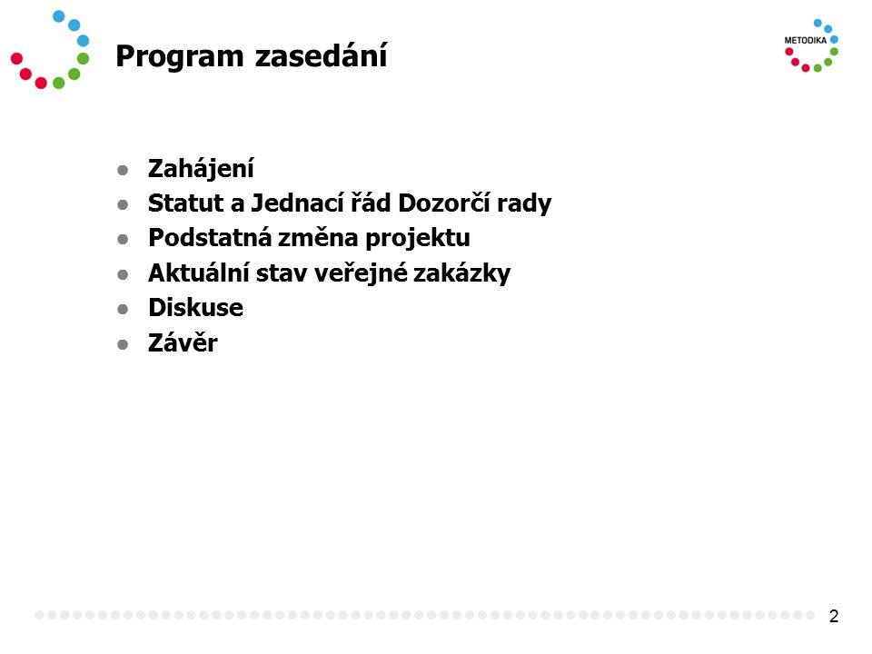 2 Program zasedání ● Zahájení ● Statut a Jednací řád Dozorčí rady ● Podstatná změna projektu ● Aktuální stav veřejné zakázky ● Diskuse ● Závěr