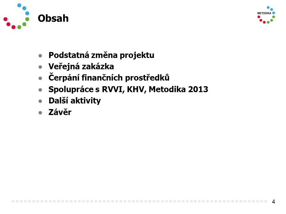 4 Obsah ● Podstatná změna projektu ● Veřejná zakázka ● Čerpání finančních prostředků ● Spolupráce s RVVI, KHV, Metodika 2013 ● Další aktivity ● Závěr