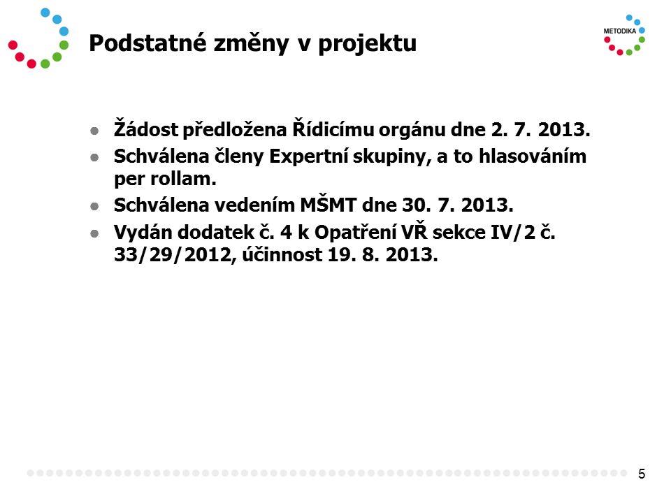 5 Podstatné změny v projektu ● Žádost předložena Řídicímu orgánu dne 2. 7. 2013. ● Schválena členy Expertní skupiny, a to hlasováním per rollam. ● Sch