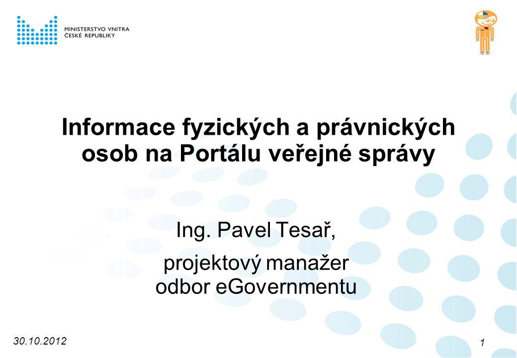 Informace fyzických a právnických osob na Portálu veřejné správy Ing.