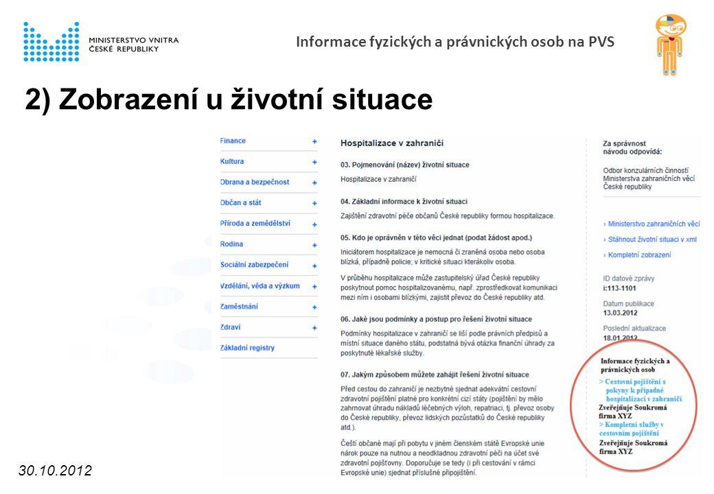 Informace fyzických a právnických osob na PVS 2) Zobrazení u životní situace 30.10.2012 10