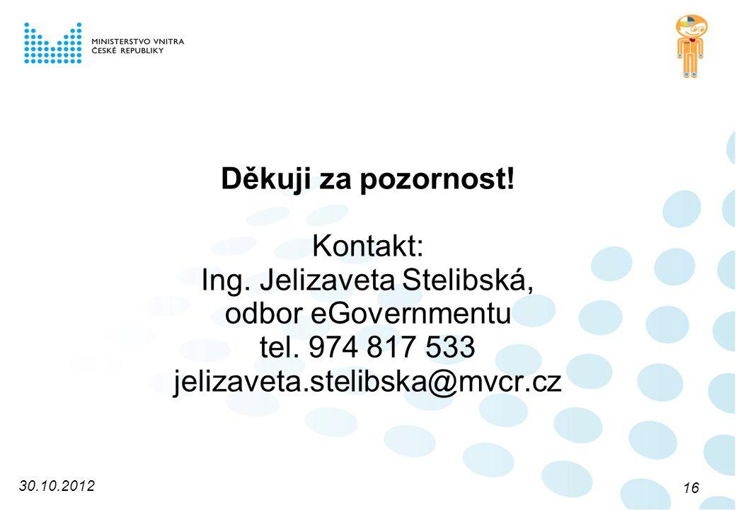 Děkuji za pozornost. Kontakt: Ing. Jelizaveta Stelibská, odbor eGovernmentu tel.
