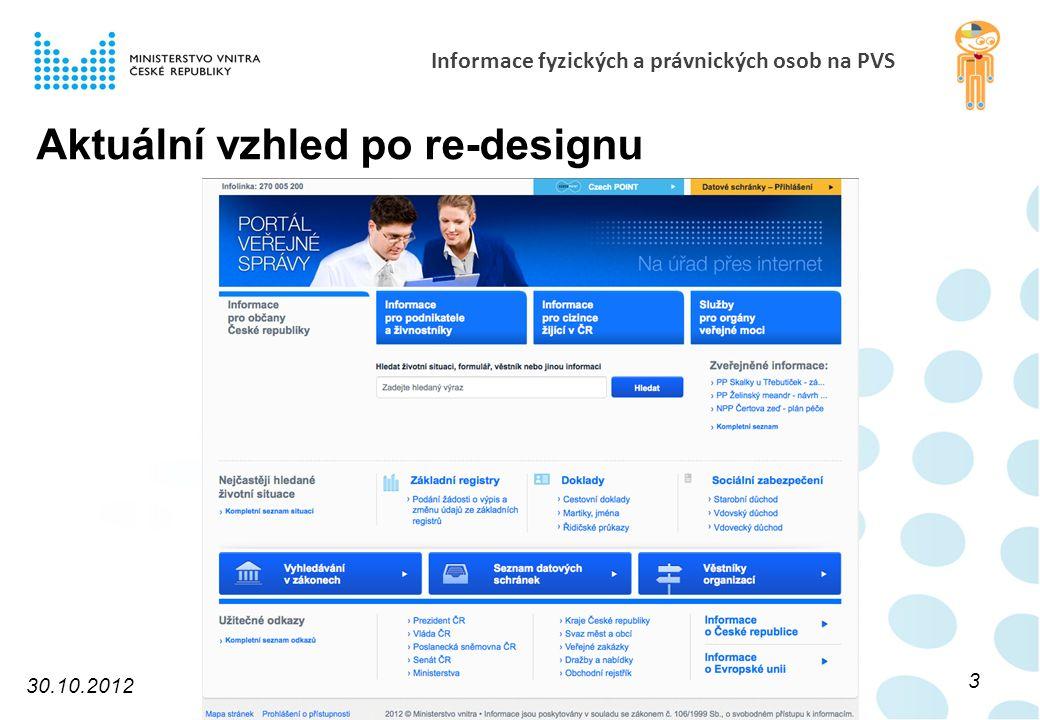 Informace fyzických a právnických osob na PVS Aktuální vzhled po re-designu 30.10.2012 3