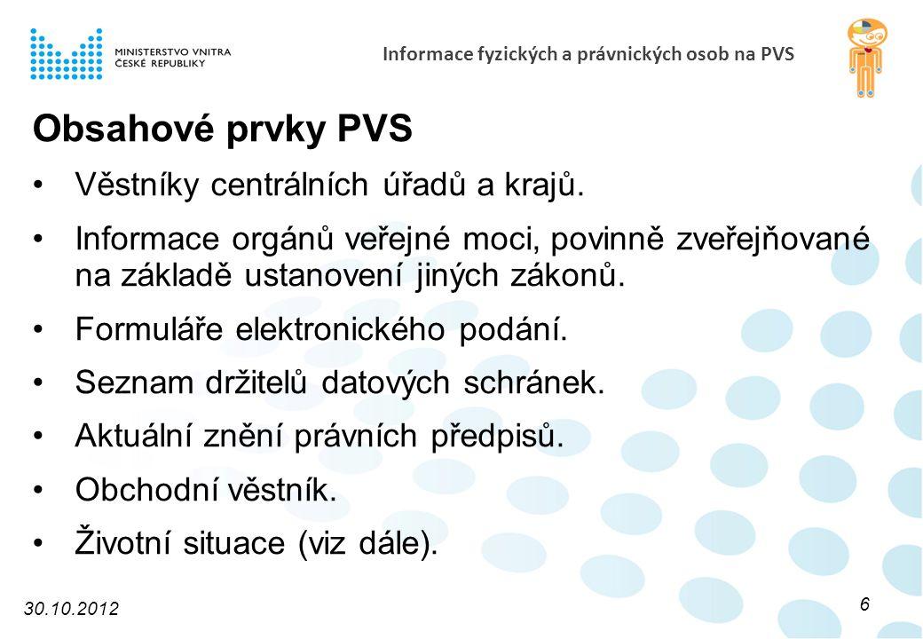 Informace fyzických a právnických osob na PVS Obsahové prvky PVS Věstníky centrálních úřadů a krajů.