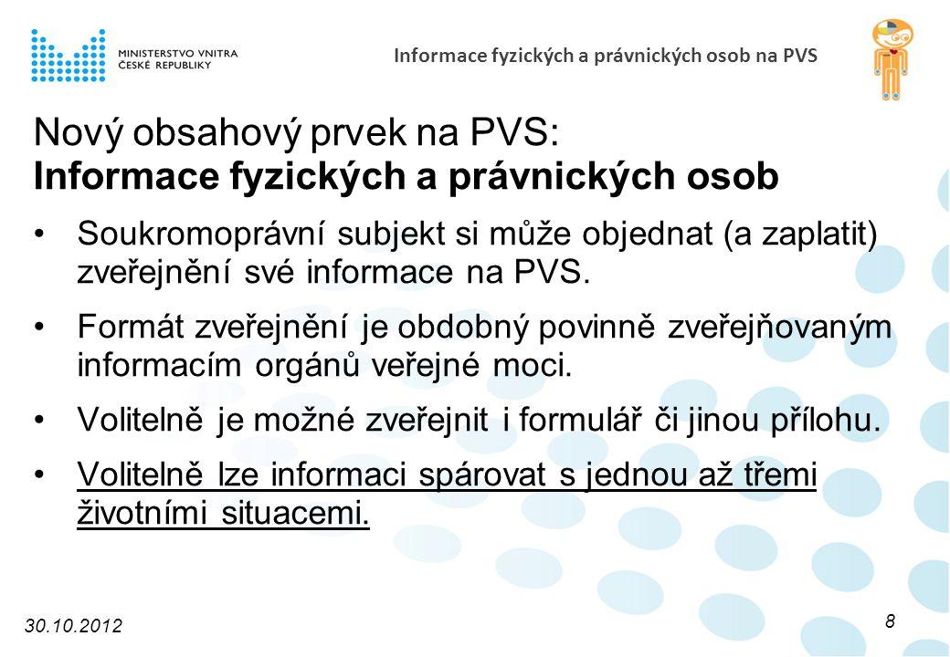 Informace fyzických a právnických osob na PVS Nový obsahový prvek na PVS: Informace fyzických a právnických osob Soukromoprávní subjekt si může objednat (a zaplatit) zveřejnění své informace na PVS.