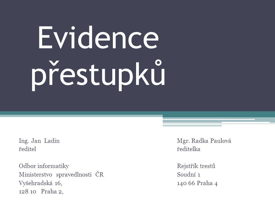 Evidence přestupků Mgr. Radka Paulová ředitelka Rejstřík trestů Soudní 1 140 66 Praha 4 Ing.
