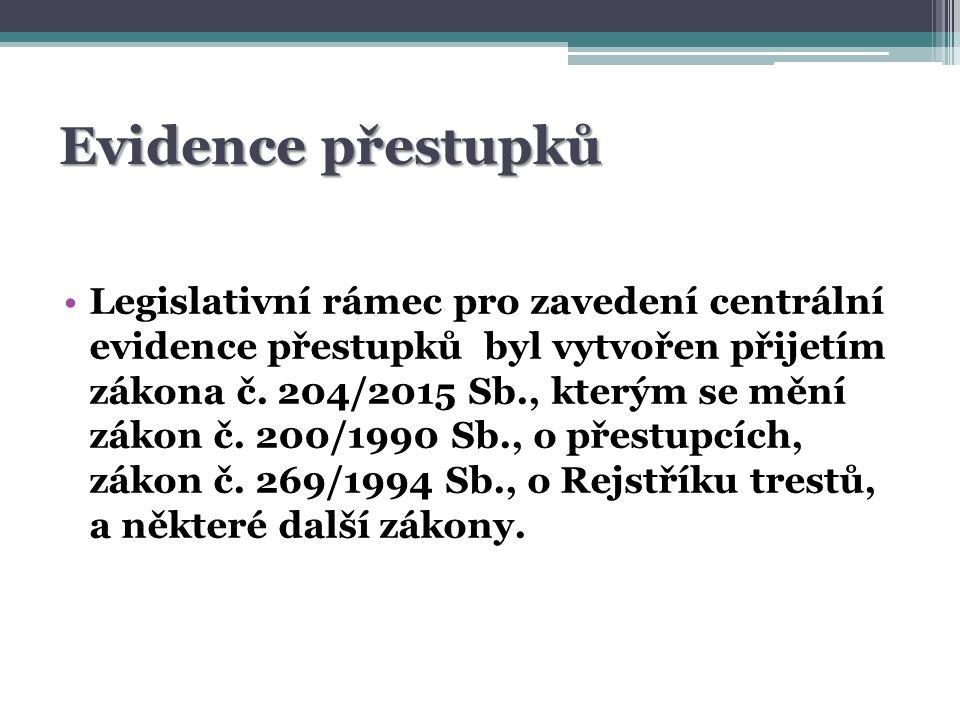 Evidence přestupků Legislativní rámec pro zavedení centrální evidence přestupků byl vytvořen přijetím zákona č.