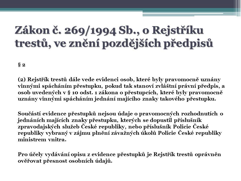 Údaje vedené v Evidenci přestupků Opis z Evidence přestupků Vkládání a editace dat do ISEP Evidence přestupků